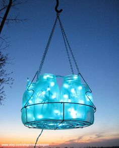 Would love this on my patio!    Icy Blue Wedding Mason Jar Chandelier Hanging by treasureagain, $115.50