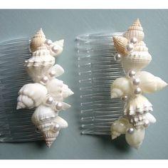 Beach Wedding Seashell Hair Combs / Hair Accessories, White ...