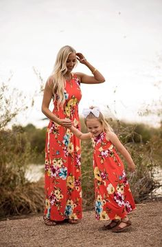 Pretty Floral Sleeveless Maxi Dress for Mommy and Me Mom And Daughter Matching, Mom Daughter, Mommy Daughter Dresses, Mommy And Me Outfits, Mommy And Me Dresses, Summer Outfits, Summer Dresses, Mom Dress, Dress Girl