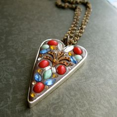 modern heartshaped mosaic assemblage pendant by maxandlucie, $45.00