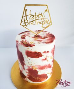 Burgundy watercolor cake with gold specks and a gold birthday cake topper. Call or email us to design your dream cake today! 35th Birthday Cakes, Red Velvet Birthday Cake, Buttercream Birthday Cake, Birthday Cake For Him, Gold Birthday Cake, Birthday Cake Toppers, Watercolor Cake, Basic Cake, Cakes Today