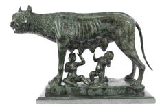THE CAPITOLINE WOLF Bronze Statue of Romulus & Remus