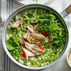 Pea pesto risotto with honey roast salmon - Sainsbury's Magazine
