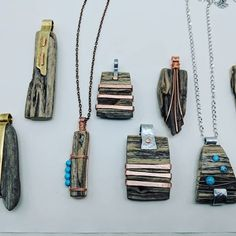 """Looking forward to our show of the year """"junk market"""" in Fargo, ND May & and bringing a new line of driftwood necklaces created… Driftwood Jewelry, Wooden Jewelry, Sea Glass Jewelry, Copper Jewelry, Stone Jewelry, Wire Jewelry, Custom Jewelry, Jewelry Crafts, Beaded Jewelry"""