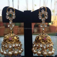 Gold Antique Jhumka From Manjula Jewels Jhumka Designs, Gold Earrings Designs, Gold Jewellery Design, Gold Designs, Gold Jewelry, Indian Wedding Jewelry, Indian Jewelry, Bridal Jewelry, Gold Jhumka Earrings