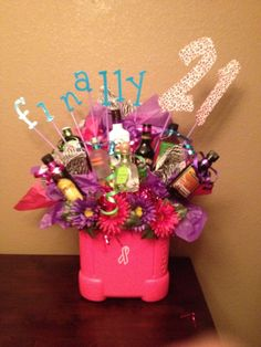 Liquor bouquet... great gift idea for someone's 21st birthday!