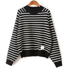 Striped Raglan Sleeve Sweater (1.145 RUB) ❤ liked on Polyvore featuring tops, sweaters, raglan sweater, striped top, striped sweater, stripe top and raglan top