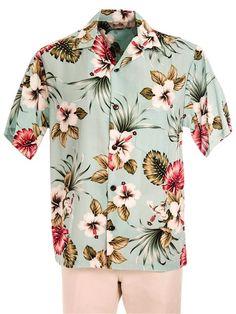 Royal Hawaiian Creations Men's Hawaiian Shirt [Hibiscus&Monstera/Light Blue]