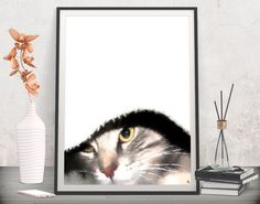 Add a fun whimsical accent to your gallery wall! Cat lover gift - Printable art by FraBorArt. #digitalart #downloadable #printable #affordable #etsy #art #fraborart