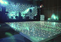 White starlit L.E.D dance floor hire