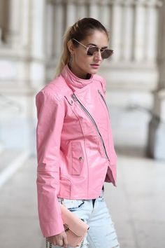 Leather Skin Women Pink Brando Genuine Leather Jacket - All About Leather Skin, Pink Leather, Casual Night Out, Barbie, Spring Jackets, Jeans And Sneakers, Queen, Piece Of Clothing, Winter Outfits