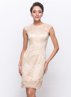 Cocktail Dresses - $138.99 - Sheath/Column Scoop Neck Knee-Length Satin Tulle Lace Cocktail Dress With Beading Flower(s) (016055955) http://jjshouse.com/Sheath-Column-Scoop-Neck-Knee-Length-Satin-Tulle-Lace-Cocktail-Dress-With-Beading-Flower-S-016055955-g55955