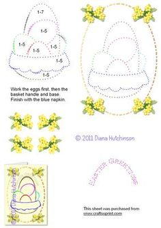 """Basket of Eggs on Craftsuprint designed by Diana Hutchinson - A stitching pattern of Easter Eggs in a basket with """"Happy Easter"""" lettering and optional 3D. - Now available for download!"""