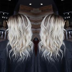 Love this colour! Bleach 'white' blonde with long dark roots! @behindthechair_com !! #btconeshot_ombre17 -#btconeshot_hairpaint17 #btconeshot_wavesandcurls17