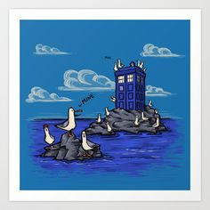 The Seagulls have the Phonebox Art Print by Karen Hallion Illustrations - $16.99