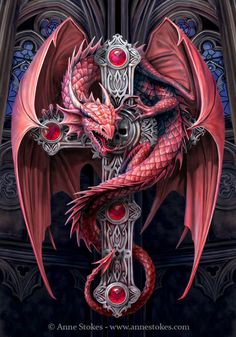 Red Celtic Dragon on cross