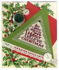 """Believe by Erica Michaels is a classic Christmas cross stitch pattern in the shape of a christmas tree that says """"joy, carols, memories, fam..."""