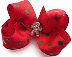 BABY Gingerbread Hair Bow Christmas Hair Bow por GirlyKurlz en Etsy