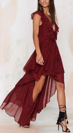 Lace up hi-lo dress