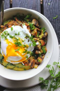 Poached Egg over Spinach Polenta with Crispy Mushrooms & Herbs