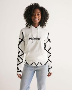 Fashion Wakerlook Women's Black and White Hoodie | My Luxury Intimates Stylish Hoodies, Current Fashion Trends, Metal Accents, Plus Size Bikini, White Hoodie, Custom Design, Clothes For Women, Womens Fashion, Casual