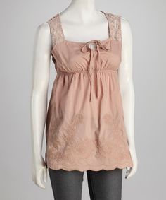 Take a look at this Blush Crochet-Back Babydoll Tunic by Panitti on #zulily today!