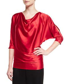 New arrivals! #ST.JOHN Collection Silk Charmeuse #Dolman Sleeve Top Granita Red $595 Orig
