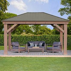 x Wood Gazebo with Aluminum Roof by Yardistry. Extend your outdoor living space with the beautiful and spacious Wood Gazebo with Aluminum Roof. The gorgeous Montana Bronze Aluminum Roof provides shade from the sun and protection from the rain. White Pergola, Deck With Pergola, Outdoor Pergola, Pergola Shade, Pergola Plans, Diy Pergola, Cheap Pergola, Pergola Lighting, Wisteria Pergola