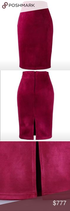 Coming Soon! High Waisted Suede Pencil Skirt High waisted burgundy faux suede pencil skirt with a slit in the back.  $30 when they arrive Skirts Midi
