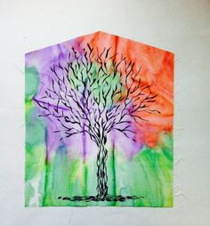 Hand Painted soft cotton Fabric Tree of Life by quiltartfabric