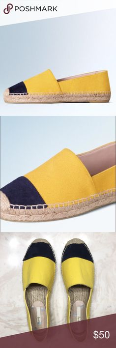 Boden Yellow Sunflower Betty Espadrilles These colourblock espadrilles are a fabulous, oh-so-simple way to brighten up your wardrobe (and your entire day). This style has a quirky contrasting toe cap: sunflower yellow with classic navy. Your feet will thank you for it. Never worn. Anthropologie Shoes Espadrilles