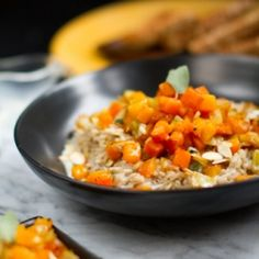 Cozy Harvest Risotto with butternut squash, toasted sage and sliced almonds. This fancy entree is surprisingly easy - and vegan!