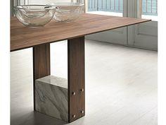 Table rectangulaire en noyer SHANI Collection Logos by Porada | design Giuseppe Viganò