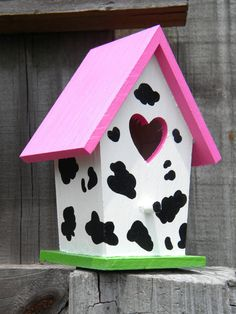Small Bird House  Cow Print by CharvetCreations on Etsy