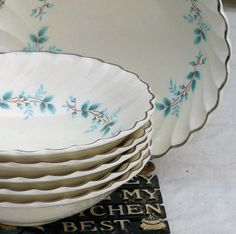 Bluebell Coupe Cereal Bowl Myott Staffordshire by SurrenderDorothy, etsy