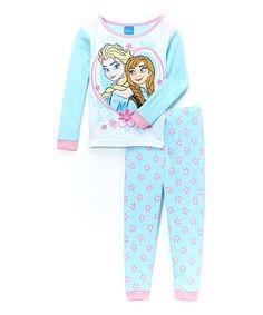Look what I found on #zulily! Blue Floral Frozen Pajama Set - Toddler #zulilyfinds