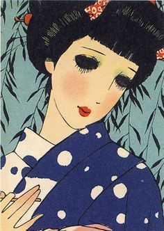 "Junichi Nakahara (1913-1983) From the series ""Yamato Otome E-Hagaki"" (""Postcards of Japanese Maidens""). Junichi Nakahara has been widely accredited as the inventor of the popular, wide-eyed and small chin, ""manga"" looks. 1940 - 1942."