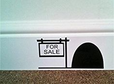 "Mouse Hole "" FOR SALE "" Skirting Board Wall Art Sticker Vinyl Decal "" 16cm x 8cm..UK SELLER"