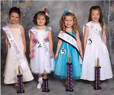 Five year olds Jr. Tiny Miss (left to right): Hailey Paige Cleveland, 2nd alt., Ivy Rebecca Davis, 3rd alt., Winner and Photogenic Kate Marie Thrash, 1st alt. Ava Grave Justiss