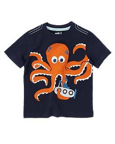 Crazy 8 Octopus Submarine Tee Hip Baby Clothes, Cool Kids Clothes, Toddler Boy Outfits, Kids Outfits, Dino Kids, Little Man Style, Baby Boy T Shirt, Kids Pjs, Moda Kids