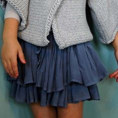 sweet double layered skirt in drapey blue-grey, a versatile color to pair with any tee or blouse.