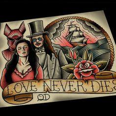 Love Never Dies, now in the shop #bramstokers #dracula #tattooflash #horror #horrorfilms