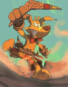 you better run... by edtropolis.deviantart.com on @DeviantArt ...you better take cover... ;)  Commish for CheesesteakofPhilly who wanted a nice pic of that boomerang wielding hero of the Outback: Ty the Tasmanian Tiger!  He plays the main protagonist of his very own video game for the ps2, xbox, and gamecube...its a very humble little game, its not Mario, Sonic or even Vinnie Vole...just Ty the Tasmanian Tiger.  #tytiger #australia #boomerang #cartoonanimal #desert #dusty #outback #tasmanian