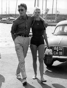 "alain-de-loin: "" Let met get this straight for everyone : this has NEVER been Alain Delon. This is Jacques Charrier. This literally is Jacques Charrier and Brigitte Bardot. This is not Alain Delon. Bridget Bardot, Brigitte Bardot, Alain Delon, Saint Tropez, Jacques Charrier, Moda Rock, Lauren Hutton, Style Outfits, Catherine Deneuve"