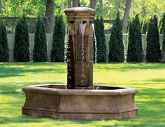 Volterra Column Fountain on Hex Pool