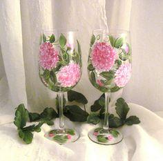 Pink Hydrangeas hand painted wine glasses