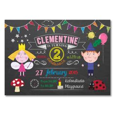Printable Ben and Holly Chalkboard/Blackboard invitation