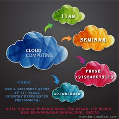 IT'S RAINING JOBS IN CLOUD COMPUTING  Find a Career in Cloud Computing - median salary for cloud computing professionals is $100,000.  Globally there are 1,82,00,000+ cloud computing jobs  A majority of these jobs are going to be present in emerging market like India, china and Asia-pacific region  Cloud computing seminar on be-practical @11AM (Aug 27, 2016) Register Now!! Or Call 9242079119  For more about our Institute Visit --- www.be-practical.com