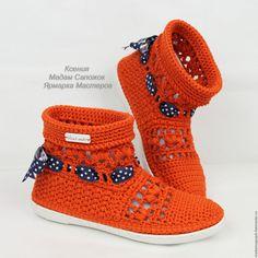 Купить Сапожки вязаные хлопковые - рыжий, сапожки вязаные, вязаные сапожки, обувь вязаная