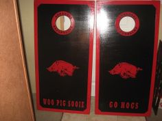 Arkansas Razorbacks Cornhole Boards by CustomCornholegames on Etsy, $200.00